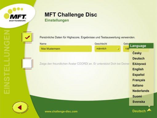 MFT Challenge Disc App - Einstellungen mit Sprachen