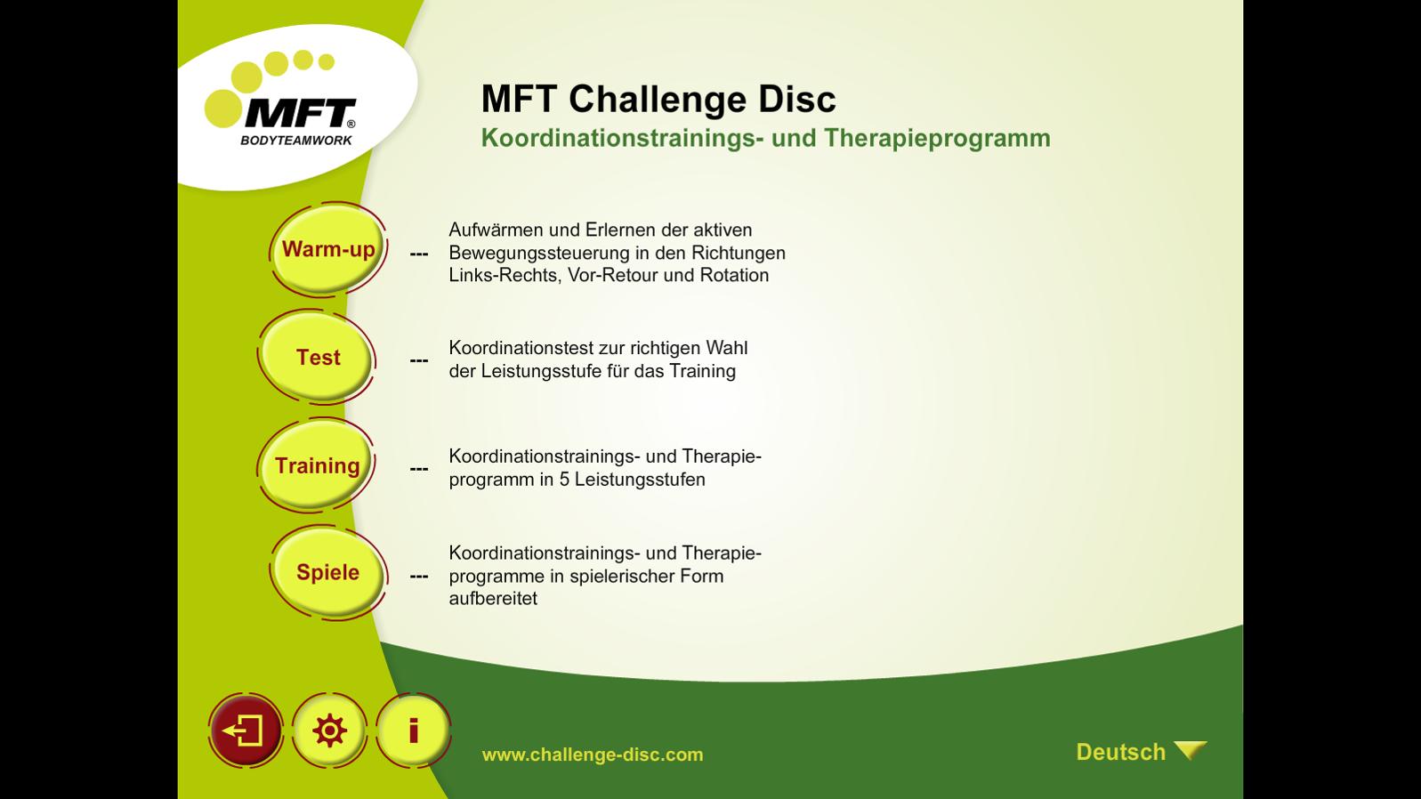 MFT Challenge Disc App - Hauptmenü Koordinationstraining, Balance-Test und Spiele