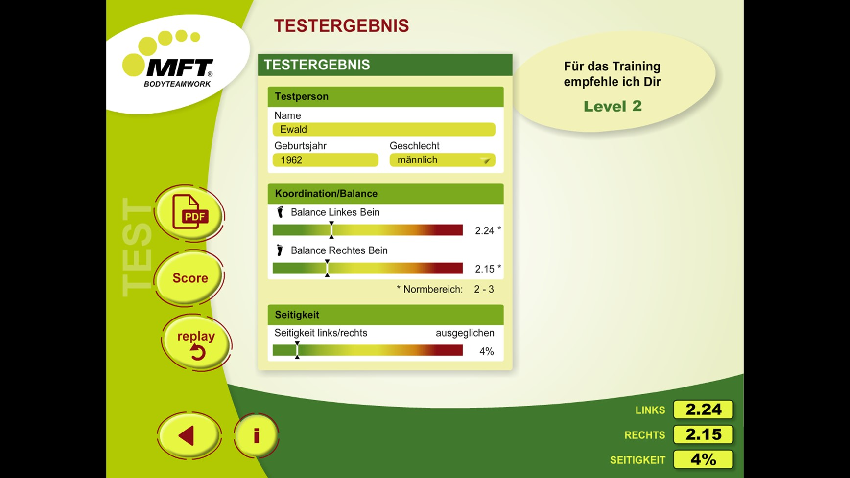 MFT Challenge Disc App - Testergebnis Balance-Check