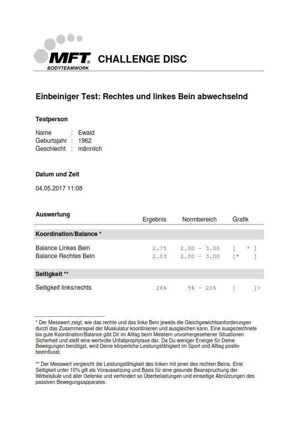 MFT Challenge Disc App - Testergebnis PDF-Bericht Koordinationstest