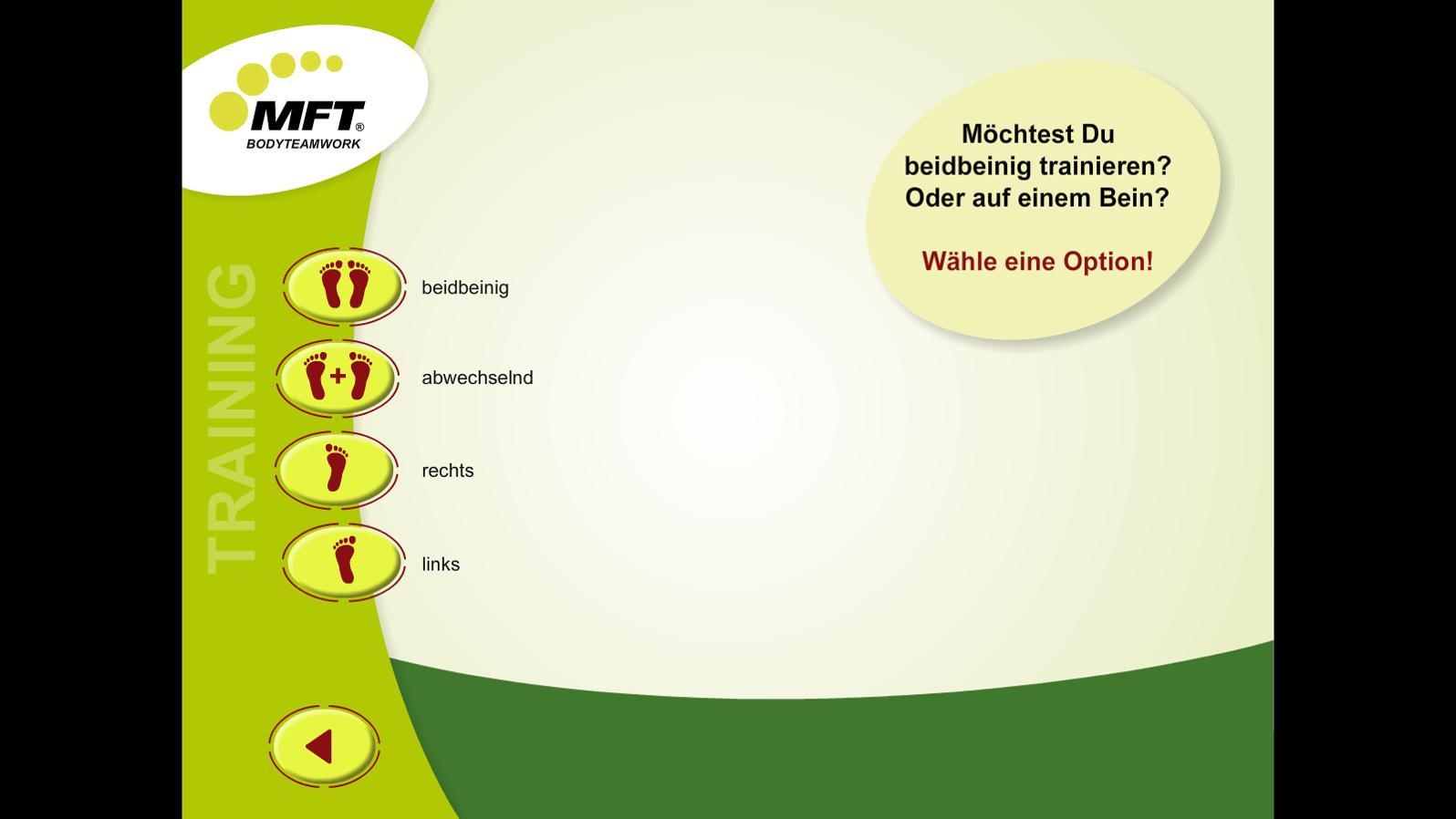 MFT Challenge Disc App - Auswahlmenü Balance-Training einbeinig/beidbeinig